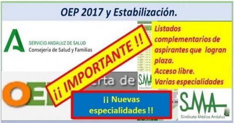 Continúan los nombramientos de la OEP ordinaria y extraordinarias de las plazas no cubiertas en otras especialidades.