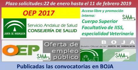 Publicadas en el Boja las convocatorias de OEP 2017, para  Cuerpo Superior Facultativo IISS especialidad Veterinaria (acceso libre y promoción interna).