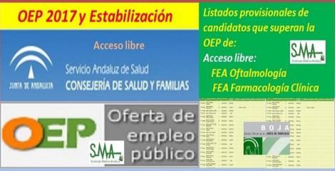 OEP 2017-Estabilización. Listado provisional de personas que superan el concurso-oposición de FEA Oftalmología y Farmacología Clínica, acceso libre.