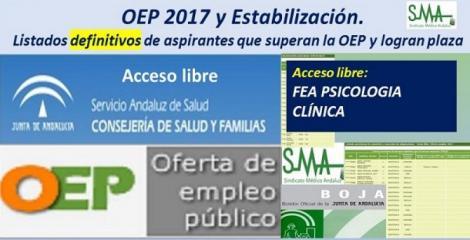 OEP 2017-Estabilización. Listados definitivos de personas aspirantes que superan el concurso-oposición y logran plaza, de  FEA Psicología Clínica, acceso libre.