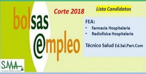 Bolsa. Listas definitivas de candidatos (corte 2018) de FEA de Farmacia Hospitalaria y Radiofísica Hospitalaria y Técnico Salud e.s.p.c..