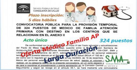 Convocatoria Pública para la provisión temporal de 324 puestos de Médico de Familia de Atención Primaria en diferentes Centros de Salud, mediante acto único.