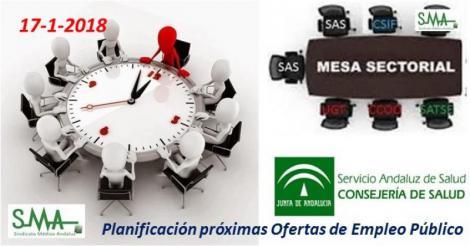 Mesa Sectorial 17-1-2018: Planificación próximas Ofertas de Empleo Público.