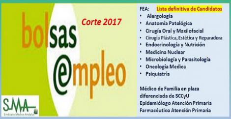 Bolsa. Publicación del listado definitivo de candidatos (corte 2017) de distintas especialidades de FEA, Médico de Familia en plaza de SCCyU, Epidemiólogo y Farmacéutico de AP.