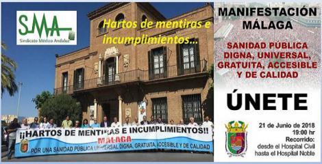 Sindicatos, pacientes y colectivos profesionales animan a manifestarse en defensa de la sanidad pública de Málaga.