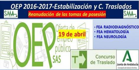 Reanudación de las tomas de posesión aplazadas de FEA de Hematología, Neurología y Radiodiagnóstico.