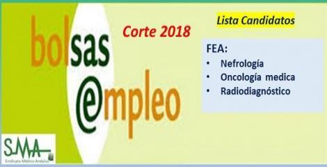 Bolsa. Publicación del listado definitivo de candidatos (corte 2018) de FEA de Nefrología, Oncología Médica y Radiodiagnóstico.