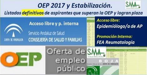 OEP 2017-Estabilización. Listados definitivos de personas aspirantes que superan el concurso-oposición y logran plaza, de Epidemiólogo/a AP, acceso libre y FEA Reumatología, promoción interna.