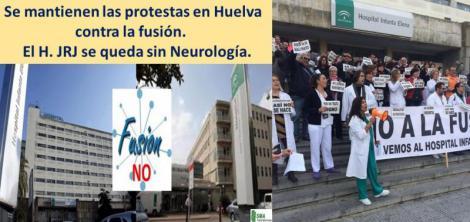 Trabajadores del H. Juan Ramón Jiménez y del H. Infanta Elena protestan contra la fusión.