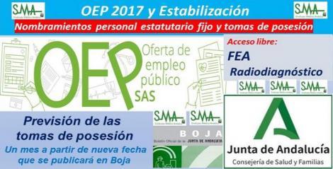 OEP 2017-Estabilización. Nombramientos de personal estatutario fijo y toma de posesión, de FEA de Radiodiagnóstico, acceso libre.