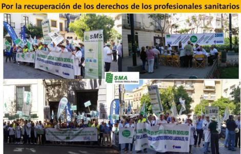 Concentraciones de los Sindicatos Médicos Andaluces para exigir la recuperación de los derechos.