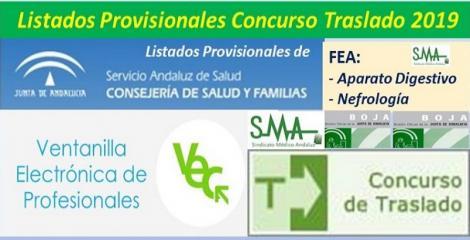 Publicadas en el BOJA resoluciones del Concurso de Traslado 2019 con listados provisionales de FEA de Ap. Digestivo y Nefrología.