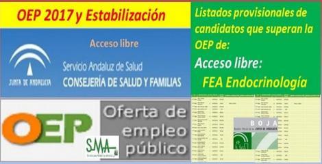 OEP 2017-Estabilización. Listado provisional de personas que superan el concurso-oposición de FEA de Endocrinología (acceso libre).