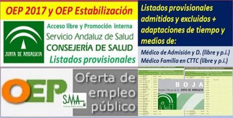 Listados provisionales de admitidos y excluidos en la OEP 2017 y Estabilización de Médico/a de Admisión y Médico/a Familia en Centros de Transfusión (libre y p. interna).