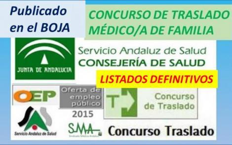 Publicada en el BOJA la Resolución con los listados definitivos del C. de Traslado de Médico/a de Familia.