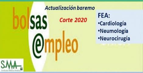 Bolsa. Publicación de listas de aspirantes con actualización del baremo de méritos (corte 2020) de FEA de Cardiología, Neumología y Neurocirugía.