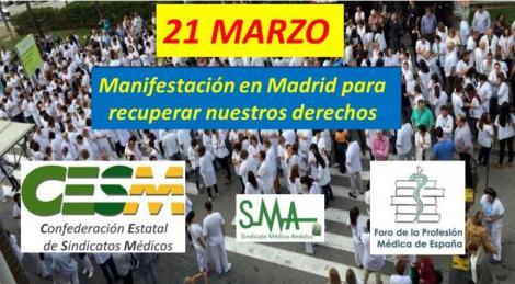 21 Marzo: fecha de la manifestación para recuperar el poder adquisitivo de los médicos y otros derechos perdidos.