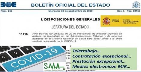 Publicado en el BOE un Real Decreto que regula el teletrabajo, la contratación y prestación excepcional de personal sanitario y la elección MIR telemática.
