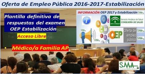 OEP 2016-2017-Estabilización. Publicada la plantilla definitiva de respuestas de las pruebas de la fase de oposición de Médico/a Familia Atención Primaria (Estabilización) acceso libre.