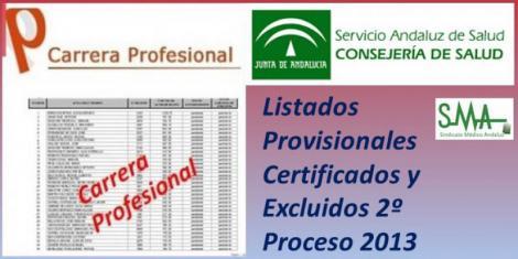 Carrera Profesional: Listados provisionales de profesionales certificados y excluidos del Segundo Proceso de certificación de 2013.