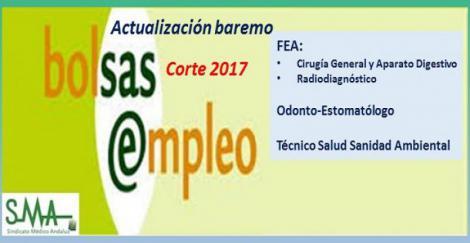 Bolsa. Publicación de listas de aspirantes con actualización del baremo de méritos (corte 2017) de FEA: Cirugía General, Radiodiagnóstico; Odonto-Estomatólogo y Técnico Salud Sanidad Ambiental.