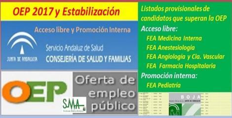 OEP 2017-Estabilización. Listado provisional de personas que superan el concurso-oposición de FEA Medicina Interna, Anestesiología, Angiología y Farmacia Hosp. (acceso libre) y de FEA Pediatría (promoción interna).