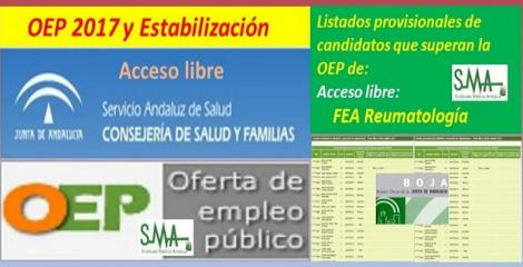 OEP 2017-Estabilización. Listado provisional de personas que superan el concurso-oposición de FEA de Reumatología, acceso libre.