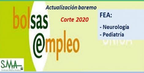 Bolsa. Publicación de listas de aspirantes con actualización del baremo de méritos (corte 2020) de FEA de Neurología y de Pediatría.