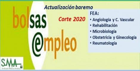 Bolsa. Publicación de listas de aspirantes con actualización del baremo de méritos (corte 2020) de FEA de Angiología, Rehabilitación, Microbiología, Ginecología y Reumatología.