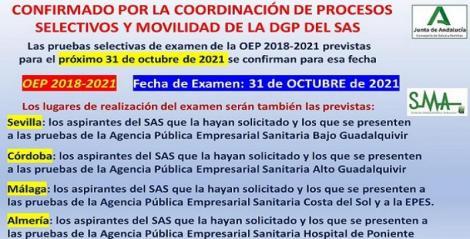 Fecha y lugares de celebración del examen para las categorías ya convocadas de la OEP 2018-2021.