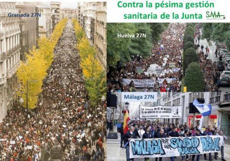 Miles de personas protestan contra la política sanitaria de la Junta.