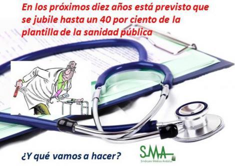 Médicos españoles, mayores y sin recambio.