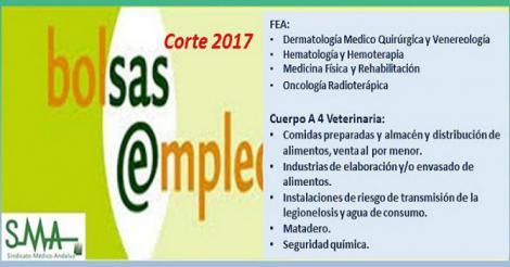 Bolsa. Publicación del listado definitivo de candidatos (corte 2017) de distintas especialidades de FEA y Cuerpo A4 Especialidad Veterinaria.