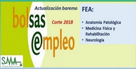 Bolsa. Publicación de listas de aspirantes con actualización del baremo de méritos (corte 2018) de FEA de A. Patológica, Rehabilitación y Neurología.