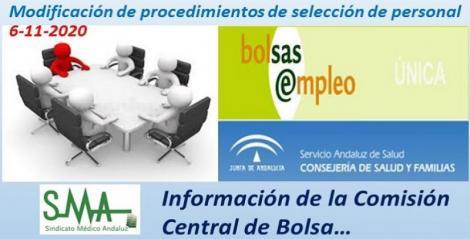 Informe Comisión Central de Bolsa. Modificación de procedimientos de selección de personal.