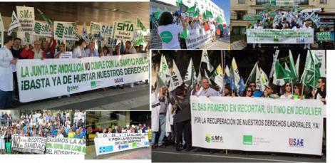 Múltiples concentraciones de protesta de los profesionales en los centros sanitarios de Andalucía.