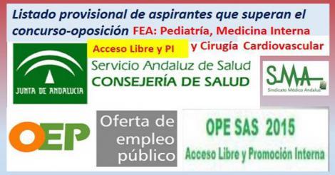 OPE 2013-2015. Listado provisional de aspirantes que han superado el concurso-oposición por acceso libre y PI de FEA: Pediatría, Cia. Cardiovascular y Medicina Interna.