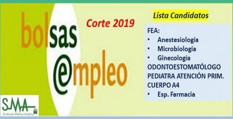 Bolsa. Publicación del listado definitivo de candidatos (corte 2019) de FEA de diferentes especialidades, Pediatra y Odontoestomatólogo de AP y Cuerpo A4.