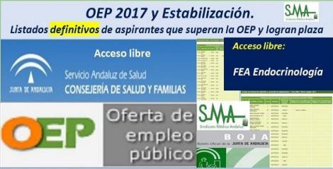 OEP 2017-Estabilización. Listados definitivos de personas aspirantes que superan el concurso-oposición y logran plaza, de FEA Endocrinología, acceso libre.