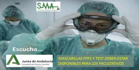 El SMA exige que las mascarillas FFP2 y los test estén disponibles para los profesionales de manera urgente.