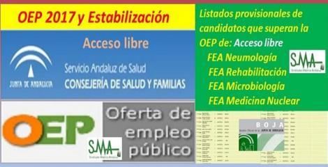 OEP 2017-Estabilización. Listado provisional de personas que superan el concurso-oposición de FEA Neumología, Rehabilitación, Microbiología y Medicina Nuclear, acceso libre.