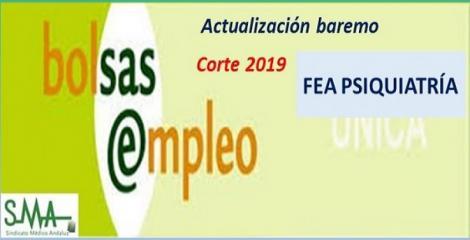 Bolsa. Publicación de listas de aspirantes con actualización del baremo de méritos (corte 2019) de FEA de Psiquiatría.