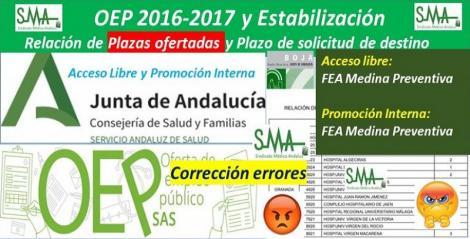 Publicadas en el BOJA correcciones de errores, de los errores de resoluciones de FEA de Medicina Preventiva de la OEP 2017-Estabilización.