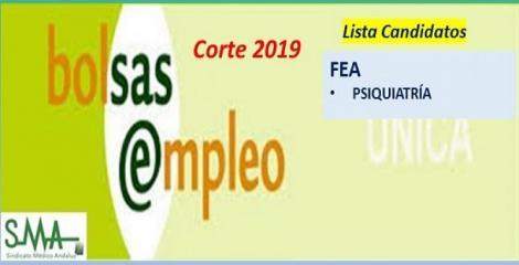 Bolsa. Listas definitivas de candidatos (corte 2019) de FEA de Psiquiatría.