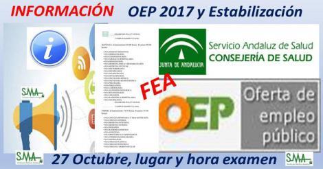 Lugar de celebración y hora del examen para la OEP 2017 y OEP Estabilización de las diferentes especialidades de FEA que se examinan el 27 de Octubre.