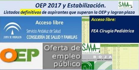 OEP 2017-Estabilización. Listados definitivos de personas aspirantes que superan el concurso-oposición y logran plaza, de  FEA Cirugía Pediátrica, acceso libre.
