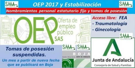 OEP 2017-Estabilización. Nombramientos de personal estatutario fijo y toma de posesión, de FEA de Traumatología y de Ginecología, acceso libre.