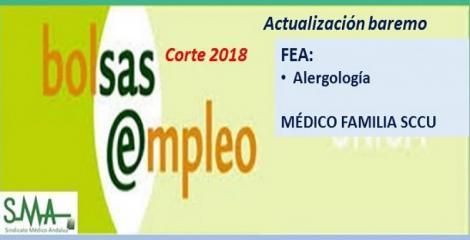 Bolsa. Publicación de listas de aspirantes con actualización del baremo de méritos (corte 2018) de FEA de Alergología y de Médico de Familia SCCU.
