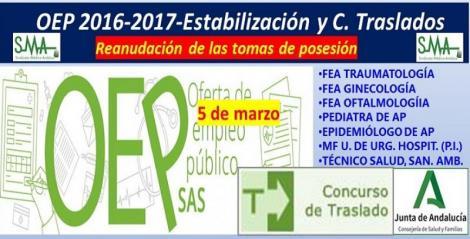 Reanudación de las tomas de posesión aplazadas de FEA de Traumatología, Ginecología, Oftalmología, Epidemiólogo y Pediatra de AP y MF en Unidades Urgencia Hospitalaria.