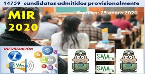 Examen MIR 2020: 14.579 candidatos en la primera lista de admitidos al examen.
